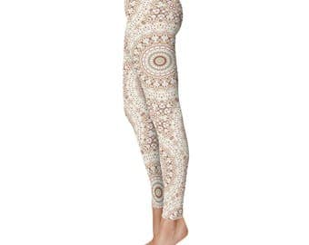 Boho Yoga Leggings, Tribal Print Leggings, Brown and White Mandala Pattern Hippie Pants, Printed Tights, Festival Clothing
