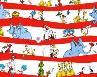 Dr Seuss Striped Fabric, Grinch fabric, Green eggs and ham fabric, Lorax fabric, Horton fabric