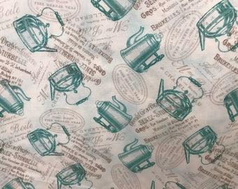 Vintage retro style coffee, tea, teapot, percolator, coffee pot fabric, novelty fabric, retro style
