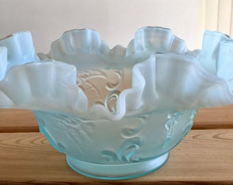 Vintage Blue Ruffled and Frosted Bowl