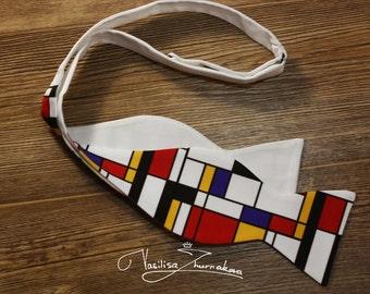 Self-tie bow tie Mondrian art bowtie - bow tie
