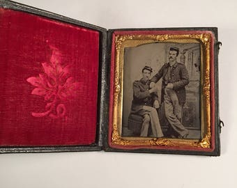 Tintype of Two Union Soldiers Having a Drink and a Smoke, 19th Century Civil War Photo in Full Case