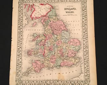 1870 Mitchell Map of England & Wales, Beautiful Hand-Colored Map, Original Antique Map