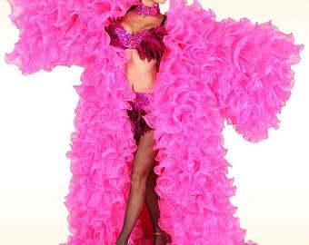 Organza Coat - Ruffle Queen - Cabaret coat, ruffle coat, organza ruffle coat, wing coat, drag queen costume, organza costume