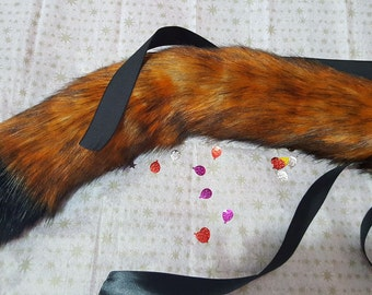 Fox tail black tip/white tip, luxury faux fur, anime, cosplay, pet play, furries