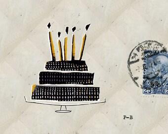 Birthday card, birthday cake, postcard, elegant, cake card original birthday, card original, old stamp.