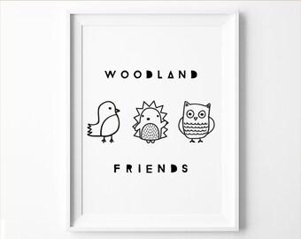 Woodland Nursery Animal Printable Art in Black and White, Modern Nursery
