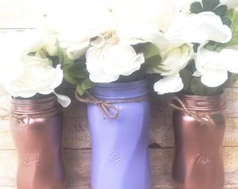 Set of 3 Hand Painted Spiral Mason Jars, Wedding Centerpieces, Teacher Gifts, Spring Wedding, Rose Gold Mason Jars, Rustic Decor, Lilac!