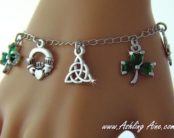 Irish Anklet, Irish Claddagh anklet, Trinity Knot, Shamrock, Silver Irish Charm Anklet/Bracelet , Claddagh anklet (#JPEW6054)