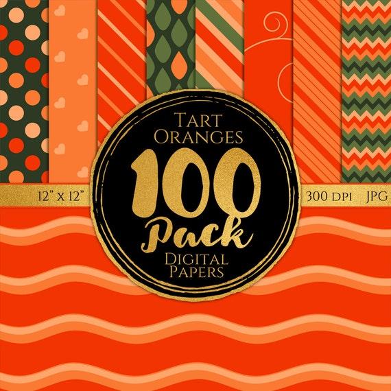 Digital Paper 100 Pack - Tart Oranges - Commercial Use, Orange Digital Patterns, Orange Digital Paper, Citrus Digital Paper