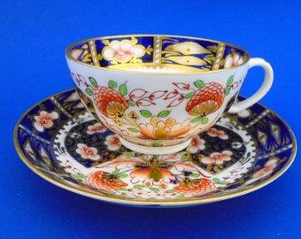 Royal Crown Derby antique gold gilt coral cobalt blue imari Tea cup and saucer c.1806
