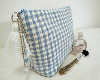 Women gifts, Large gingham makeup bag, white and blue cosmetic bag, large gingham toiletry bag, blue tassel, jewels, gifts for girlfriend,