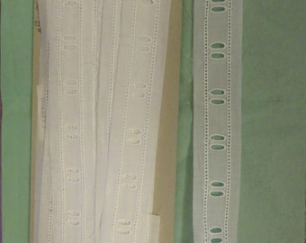 """Swiss Beading 2 yds Vintage White Cotton Heirloom Insertion by 5/8"""" pcs"""