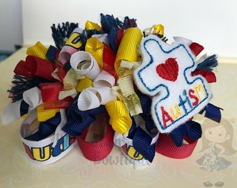 Autism Awareness Funky Loop Bow