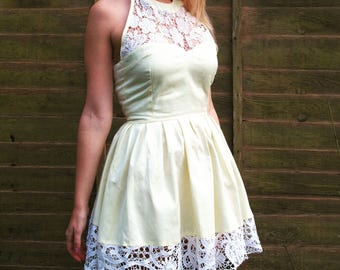 Cotton and sequinned lace crochet dress.