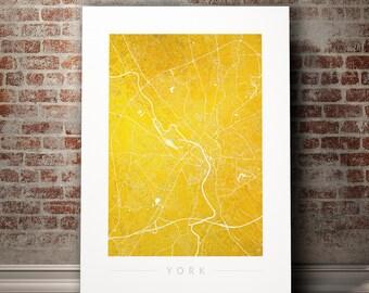 York Map - City Street Map of York, England - Art Print Watercolor Illustration Wall Art Home Decor Gift - COLOUR PRINTS