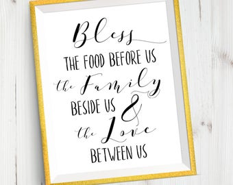 Bless The Food Dining Room Quote Prayer Religious Printable Art