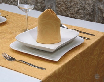 Luxury Gold Table Runner - Anti Stain Proof Resistant - Pack of 2 units - Ref. Lyon - Large hem