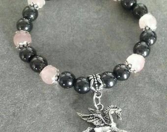 Bracelet énergetisé en Hématite et cristal de roche rose, pegasus