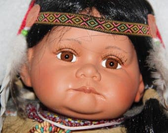 Hand painted Indian Doll hand painted porcelain doll 50 - 60 cm large hand painted porcelain Native American Indian doll large baby doll