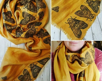 Handprinted Moths Scarf, lovely gold linen scarf, mustard linen scarf with black handprinted moths, long linen scarf, made to order