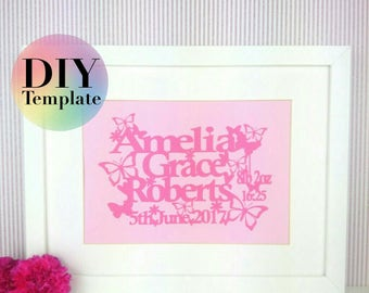 Birth announcement paper cutting template,  SVG cameo or cricut, PDF handcutting, papercut wall art , gift for new baby, gift for baby girl