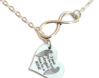"Infinity Necklace - ""I used to be his Angel Now he is mine"" - Memorial jewelry/Woman/Girl/Classy/Heart/Dad/Silver/forever missed/wings"
