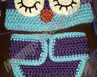 Crochet sleepy owl baby set photo prop baby shower gift