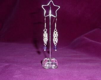 Byzantine Weave Earrings with Amethyst Gemstones