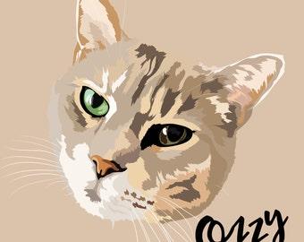 Cat gift, Crazy cat lady artwork, cat print, custom pet portrait, pet portrait, custom pet print, pet print, custom pet print, pet art