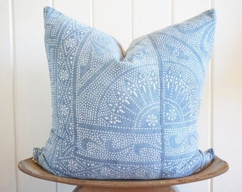Chinese Batik Faded Blue Cream Pillow Cover Vintage Boho Coastal With 100% Linen backing Exposed Gold Zipper