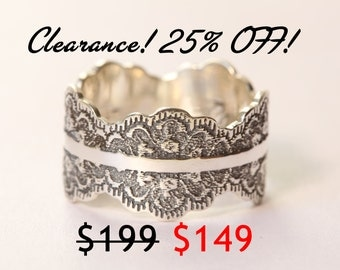 CLEARANCE 25% OFF! Unique Oxidized Silver Wedding Band, Wide Silver Ring, Silver Wedding Ring, Oxidized Silver Lace Ring, Size 9.5