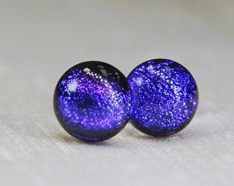 Blue Purple Shimmer Ear Studs