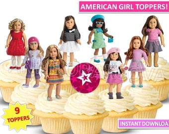 American Girl Cupcake toppers/ American Girls Printables/ American Girl Doll Cupcake Toppers/ Instant Download/ You Print 60% OFF