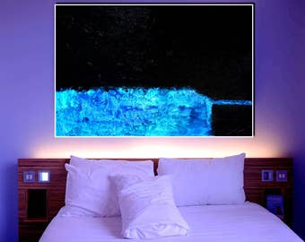 Abstract XXL Black &  Blue large contemporary art handpainted heavy texture modern canvas acrylics