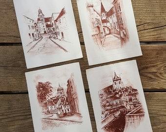 Set of 4 Mini lithographs of Robert Fertier vintage