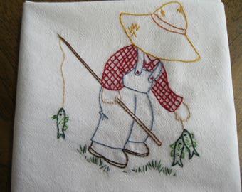 Handmade Embroidered Flour Sack Dishcloth