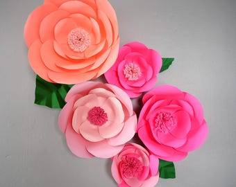 Paper Flower Backdrop, Pink Wedding Paper Flowers, Large Wall Flowers