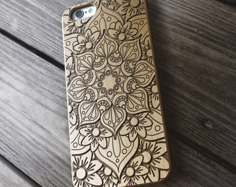 Mandala Real Wood iPhone Case | Wooden iPhone 7 case | iPhone 6 Cover | iPhone 5 5s 5c SE Case | Samsung Galaxy S6 S7