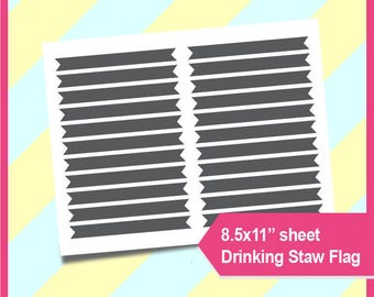 "Drinking Straw Flag Template, PSD, PNG and SVG Formats,  8.5x11"" sheet,  Printable 005"