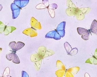 Pretty as a Pansy - Per Yd - Henry Glass by Jane Shaskey of Jane's Garden - Butterflies on Purple