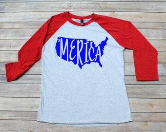 Merica, Merica Shirt, Merica Raglan, Merica Tee, 4th of July, Memorial Day, Independence Day, Merica Outfit