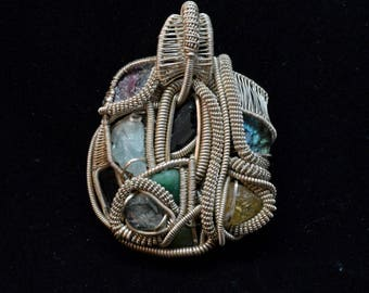 Heady handmade wire wrapped crystal pendant