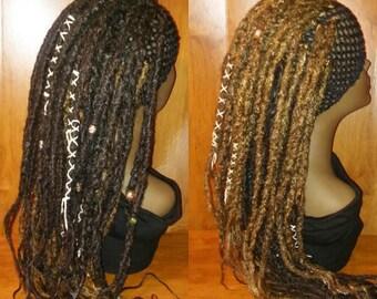 FREE SHIPPING 2in1 wig / Reversible dreadlock headband /black brown crochet dread wig / 2 in one wig / crochet dreadlock partial wig