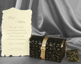 Luxury Chest Wedding Invitation Free Personalized Printing, boxed wedding invitations