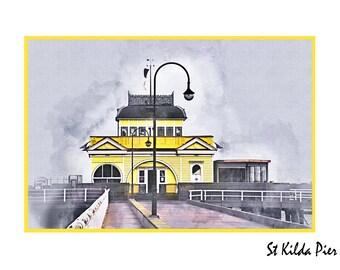 St Kilda Pier Watercolour - Canvas/Decal/Vinyl/Poster