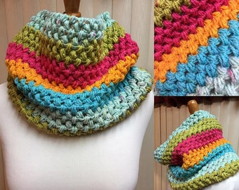 Crochet Cowl, Puff Stitch Cowl, Rainbow Striped Cowl, Striped Cowl, Multi Color Cowl, Gifts for Her, Circle Scarf, Crocheted Cowl