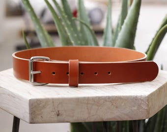 Heavyweight Leather Belt - Hermann Oak Chestnut Bridle