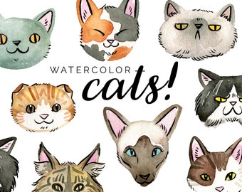 Watercolor Cats Clipart Set - INSTANT DOWNLOAD - High Res, PNG, Printable and Cute! For stationery, projects and planners