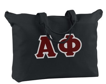 Greek Letter Zippered Tote Bag
